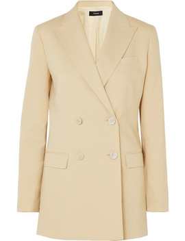 Double Breasted Wool Blend Canvas Blazer by Theory