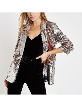Pink Sequin Ruched Sleeve Blazer by River Island