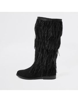 Girls Black Feather Knee High Boots by River Island