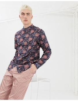 Asos Design Regular Fit Floral Shirt In Blue With Grandad Collar by Asos Design