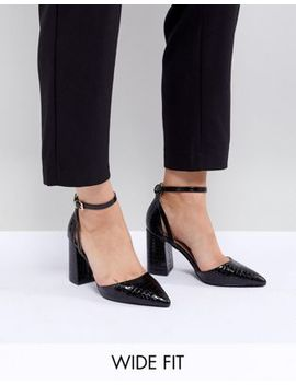Raid Wide Fit Black Croc Effect Block Heeled Shoes   Key Item by Raid
