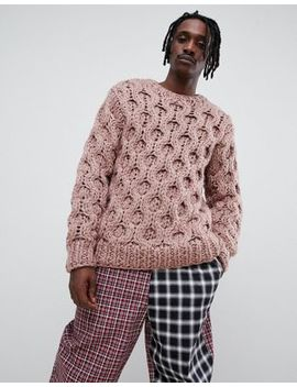 Asos Design Hand Knitted Heavyweight Sweater In Faded Pink by Asos Design