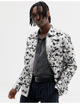 Asos Edition Silver And Black Floral Jacquard Overshirt by Asos Edition