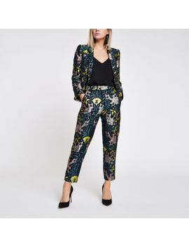 Petite Blue Jacquard Cigarette Trousers by River Island