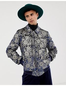 Asos Edition Bomber Jacket With Sequin Jacquard In Navy by Asos Edition