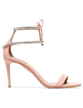 Pink Crillon 85 Suede Leather Sandals by Aquazzura