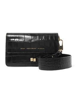 Croc Effect Leather Shoulder Bag by Chylak