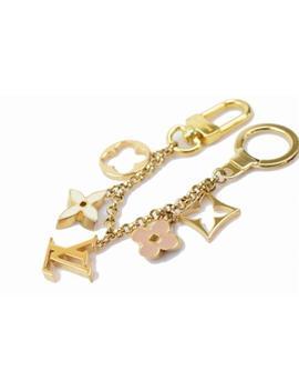 Authentic Louis Vuitton Key Ring Fleur De Monogram M65111 Gold X Beige  366253 by Louis Vuitton