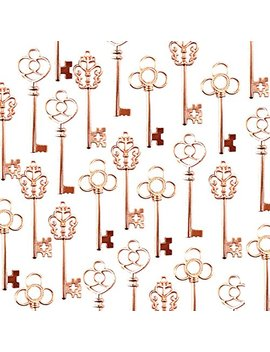 Aokbean Vintage Skeleton Keys In Rose Gold Style   Set Of 30pcs (Rose Gold) by Aokbean