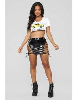Lace Up And Latex Skirt   Black by Fashion Nova
