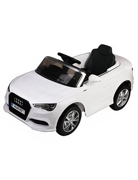 Costzon Ride On Car, Licensed Audi A3 12 V 2 Wd Battery Powered Ride On Toy Manual/Parental Remote Control Modes Vehicle With Headlights, Mp3, Music, Adjustable Speed For Kids (White) by Costzon