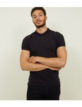 Black Ribbed Muscle Fit Polo Shirt by New Look