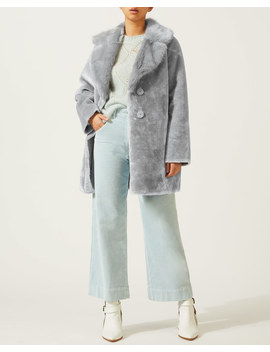 Large Collar Faux Fur Coat by Jigsaw