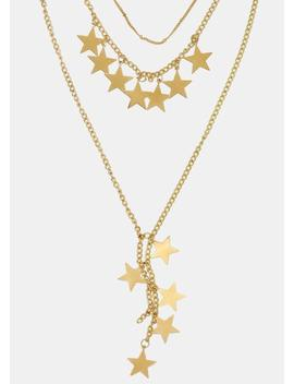 Layered Chain Star Necklace by Miss A