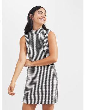 Petite Monochrome Jacquard High Neck Shift Dress by Miss Selfridge