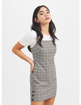Petite Yellow Grey Check Pinafore Dress by Miss Selfridge