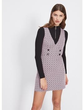 Pink Jacquard Pinny Dress by Miss Selfridge