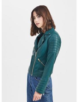 Green Bella Leather Look Biker by Miss Selfridge