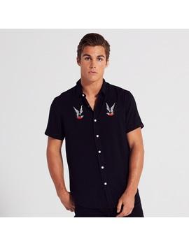 Adam Levine Men's Chest Embroidered Shirt   Black by Adam Levine