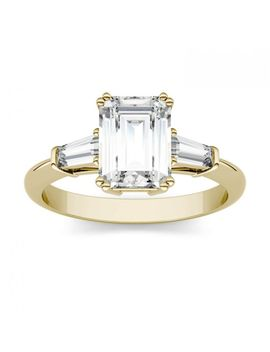 Forever One 2.12 Ctw Emerald Near Colorless Moissanite Three Stone Engagement Ring In 14 K Yellow Gold by Charles And Colvard