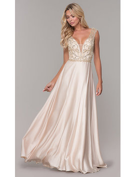 Long Nude V Neck Prom Dress By Dave And Johnny by Dave And Johnny