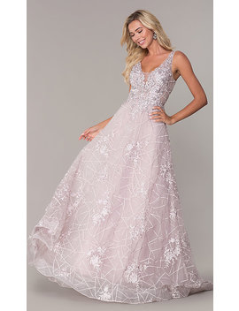 Embroidered Long V Neck Prom Dress by Promgirl