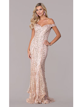 Glitter And Sequin Long Off The Shoulder Prom Dress by Promgirl