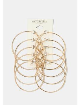 5 Pair Large Gold Hoop Set by Miss A