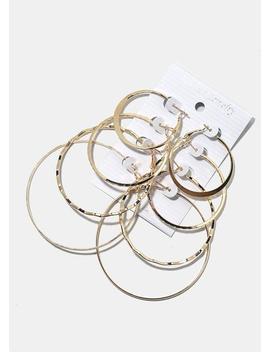 4 Pair Gold Multi Hoop Earrings by Miss A