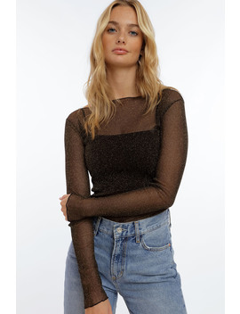 Long Sleeve Glitter Mesh Top by Chiquelle