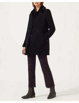 Modern Wool Faux Fur Trim Coat by Jigsaw
