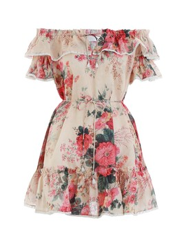 Multicolor Meadow Floral Laelia Frill Tier Short Dress by Shop Bazaar