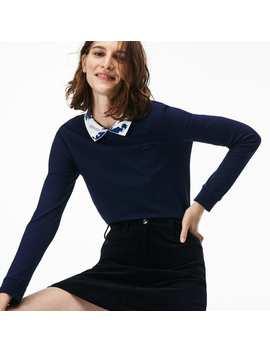 Women's Jacquard Collar Stretch Mini Piqué Polo by Lacoste