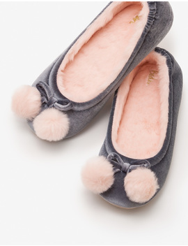 Velvet Pompom Slippers by Boden