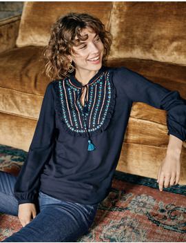 Polly Embroidered Top by Boden