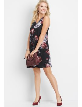 V Neck Floral Print Shift Dress by Maurices