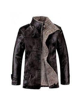 Stand Collar Flocking Single Breasted Pu Leather Jacket by Twinkle Deals