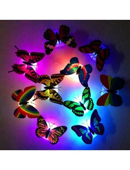 1pcs Colorful Luminous Butterfly Nightlight Stickers Small Night Lamp Indoor Wall Lighting by Twinkle Deals