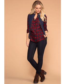 Campout Burgundy Plaid Top by Priceless