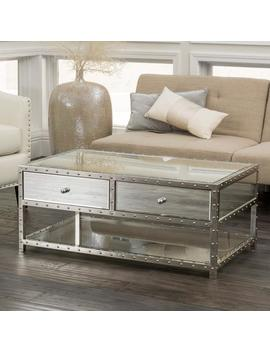Ryanne Studded Mirrored 2 Drawer Coffee Table by Gdf Studio