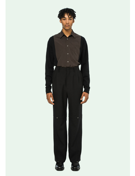 Black Double Pleated Pants by Off White