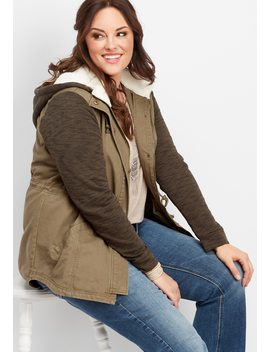Plus Size Sherpa Hood Sweater Sleeve Jacket by Maurices