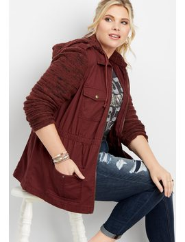 Plus Size Patterned Sweater Twill Jacket by Maurices