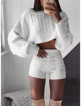 Knitted Long Sleeve Crop Top & Shorts Sets by Ivrose