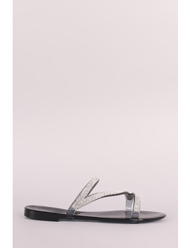 Liliana Strappy Rhinestone Accent Jelly Flat Sandal by Urbanog