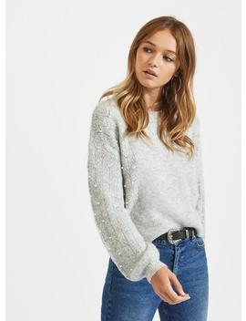 Grey Pearl Pointelle Knitted Jumper by Miss Selfridge