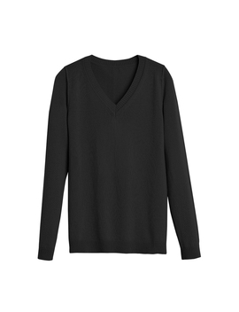 Wool Cashmere Slim V Neck Sweater by Cuyana