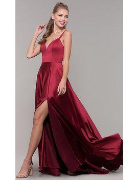 Long Side Slit Prom Dress With V Neckline by Promgirl