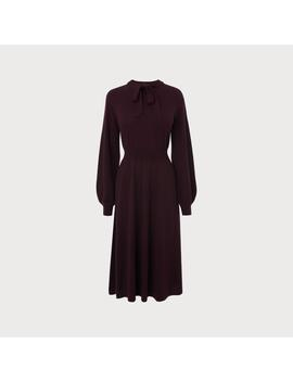 Carroll Wine Merino Wool Dress by L.K.Bennett