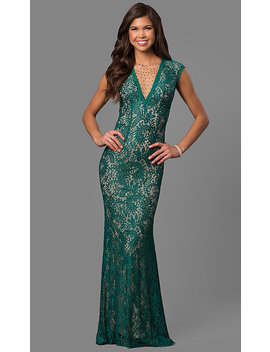 Long Lace Prom Dress With Rhinestone Illusion V Neck by Promgirl